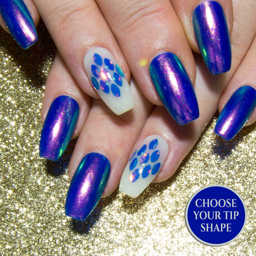 """Mermaid for You"" Blue Fake Nails - AB Chrome Fake Nails"