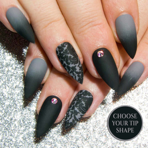 """Black Static Chrome"" Dark Metallic Fake Nails"