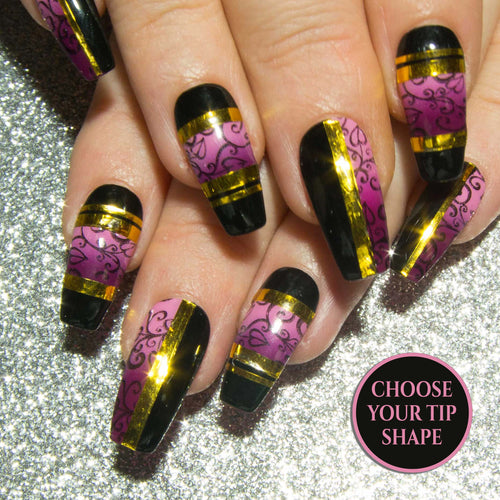 """Black Tie Required"" - Pink, Black & Gold Chrome Colour Block False Nails"