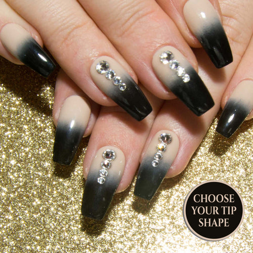 """Ink-Dipped"" - Neutral and Black Ombre & Clear Crystal Fake Nails"
