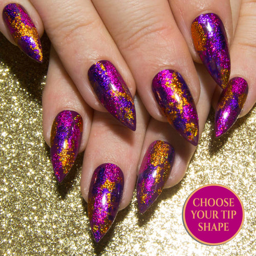 """Foiled In Fuchsia"" Pink, Purple & Copper Glitter Metallic Foil Press On Nails"