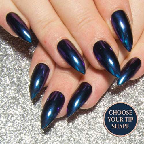 """Blue Chameleon Chrome"" - Colour Shift Press On Nails"