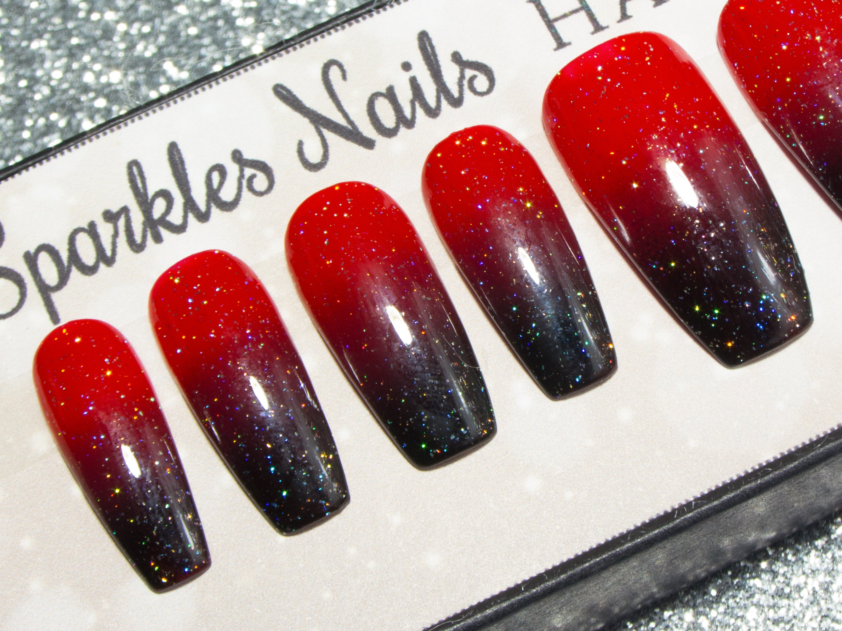 """Rockabilly Vibes"" - Red & Black Sparkly Ombre Nails - All Tip Shapes"
