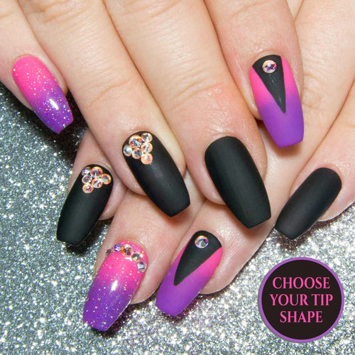 """Louder than You"" - Neon Pink, Purple, and Black Press On Nails with AB Crystals"