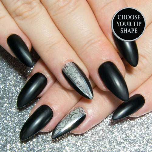 """Dark Lady"" - Black Leather & Negative Space Press On Nails"