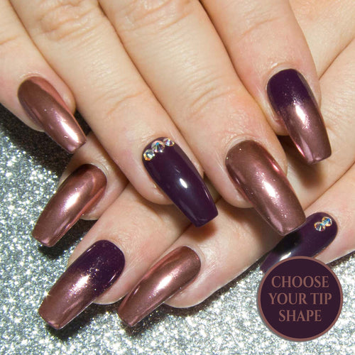 """Gilded Plum"" - Rose Gold Chrome Nails with Purple & Swarovski® Crystals"