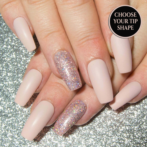 """Angelic"" - Matte or Gloss Nude Pink & Holographic Glitter Nails"