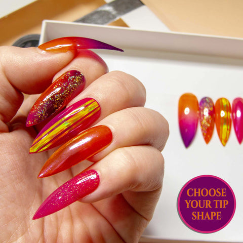 """Fruit Salad"" - Pink Orange & Yellow Ink Marble Nails"