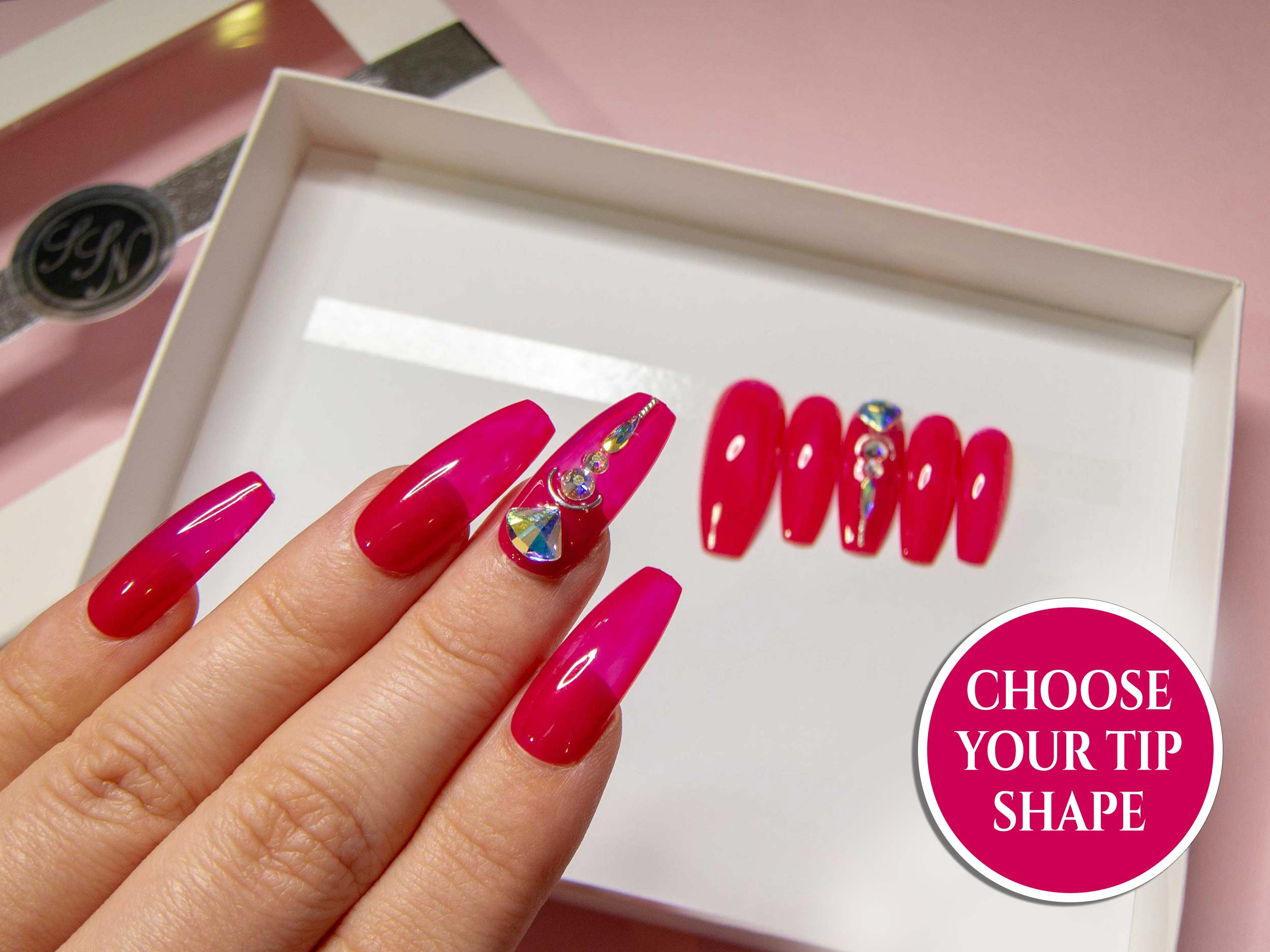 """Blow Up Princess"" Pink Glass Nails with AB Swarovski® 3D Elements"