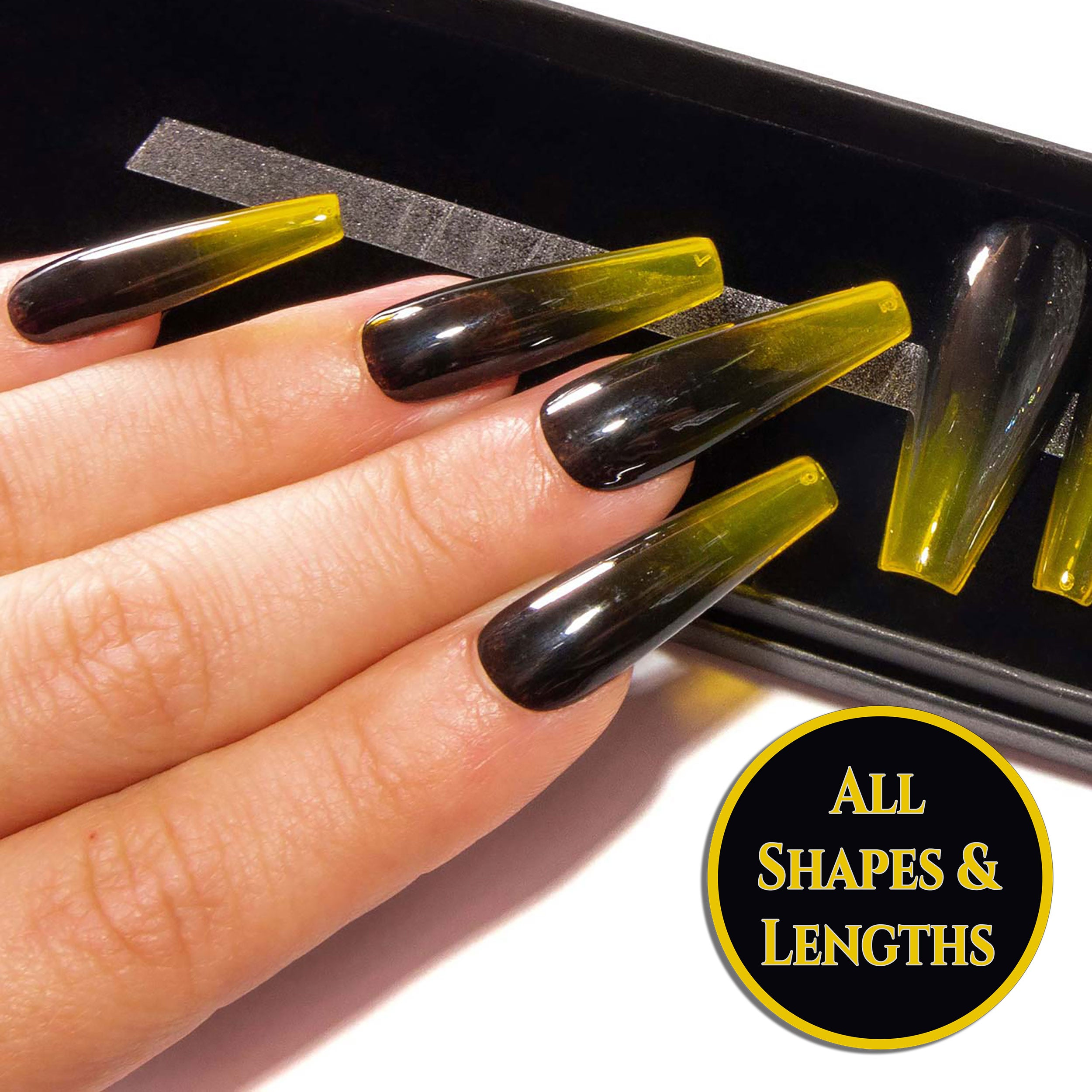 """Honey Maker"" - Black and Yellow Glass Ombre Press On Nails"