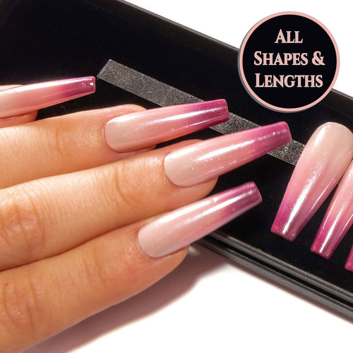 """Pink Lady"" - Nude Pink to Burgundy Ombre Pearl Chrome False Nails"