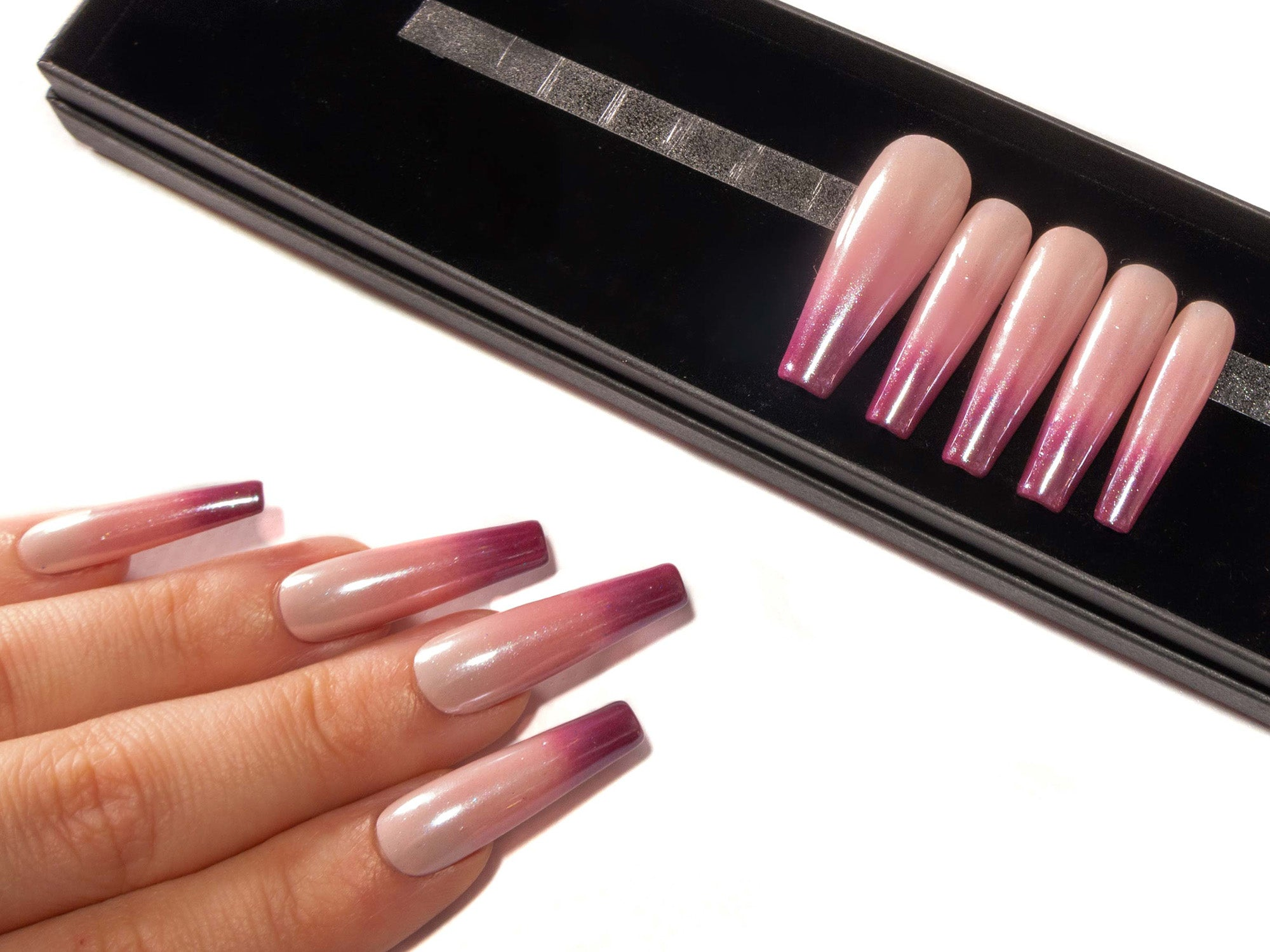 """Pink Lady"" - Nude Pink to Burgundy Ombre False Nails - Pearl Chrome, Gloss or Matte"