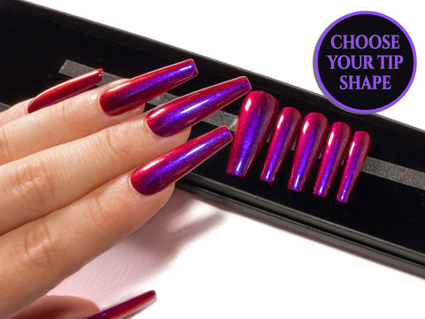 """Simply Primary"" Blue, Purple & Red Ombre Fake Nails - All Tip Shapes"