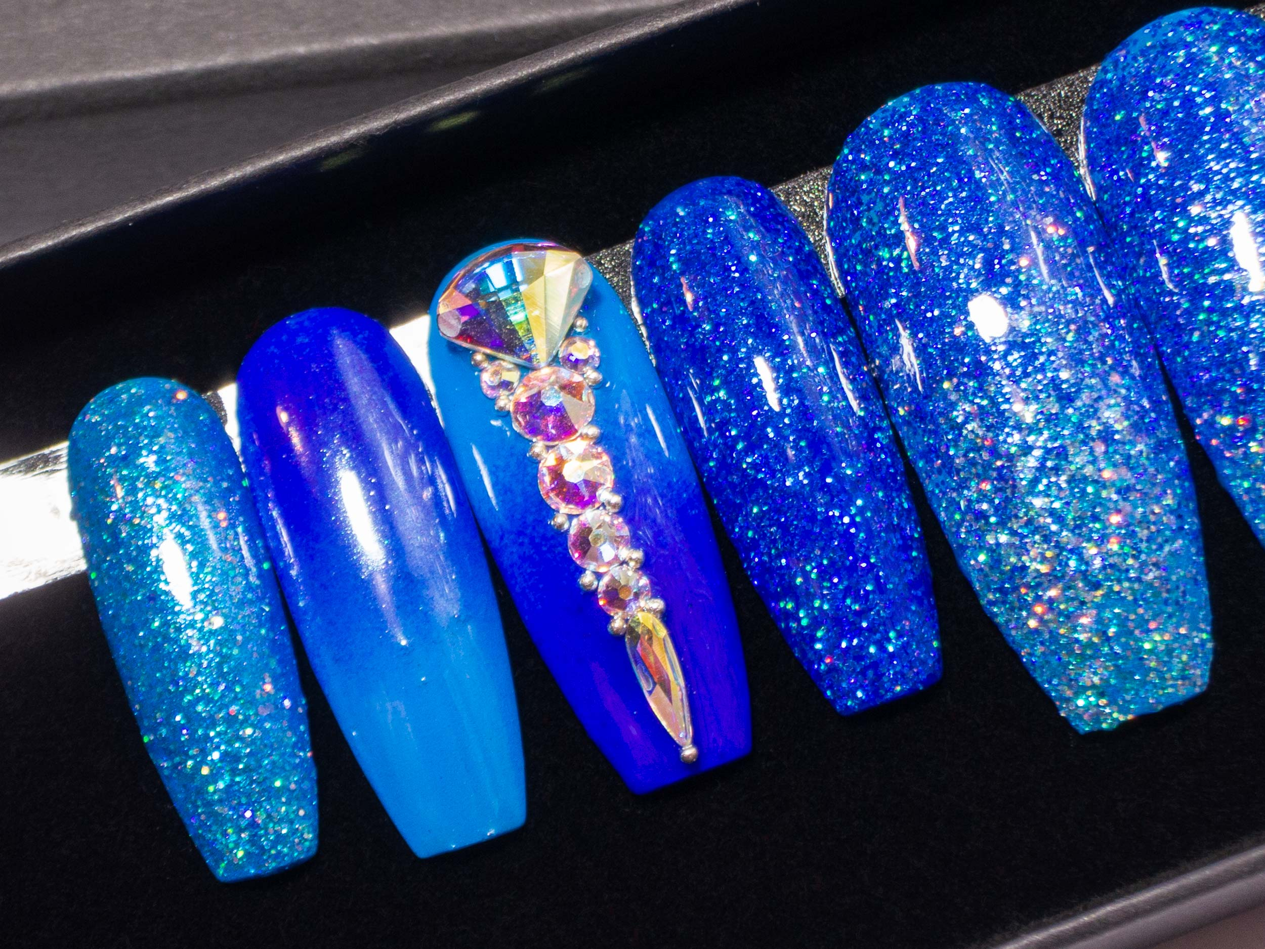 """A Fan of Blue"" Ombre Press On Nails with Swarovski Crystals"