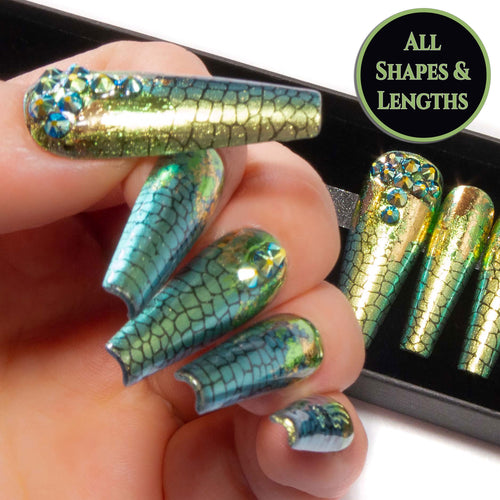 """Reptilian"" - Green Colour Shift Foil & Jet AB Crystal Nails"