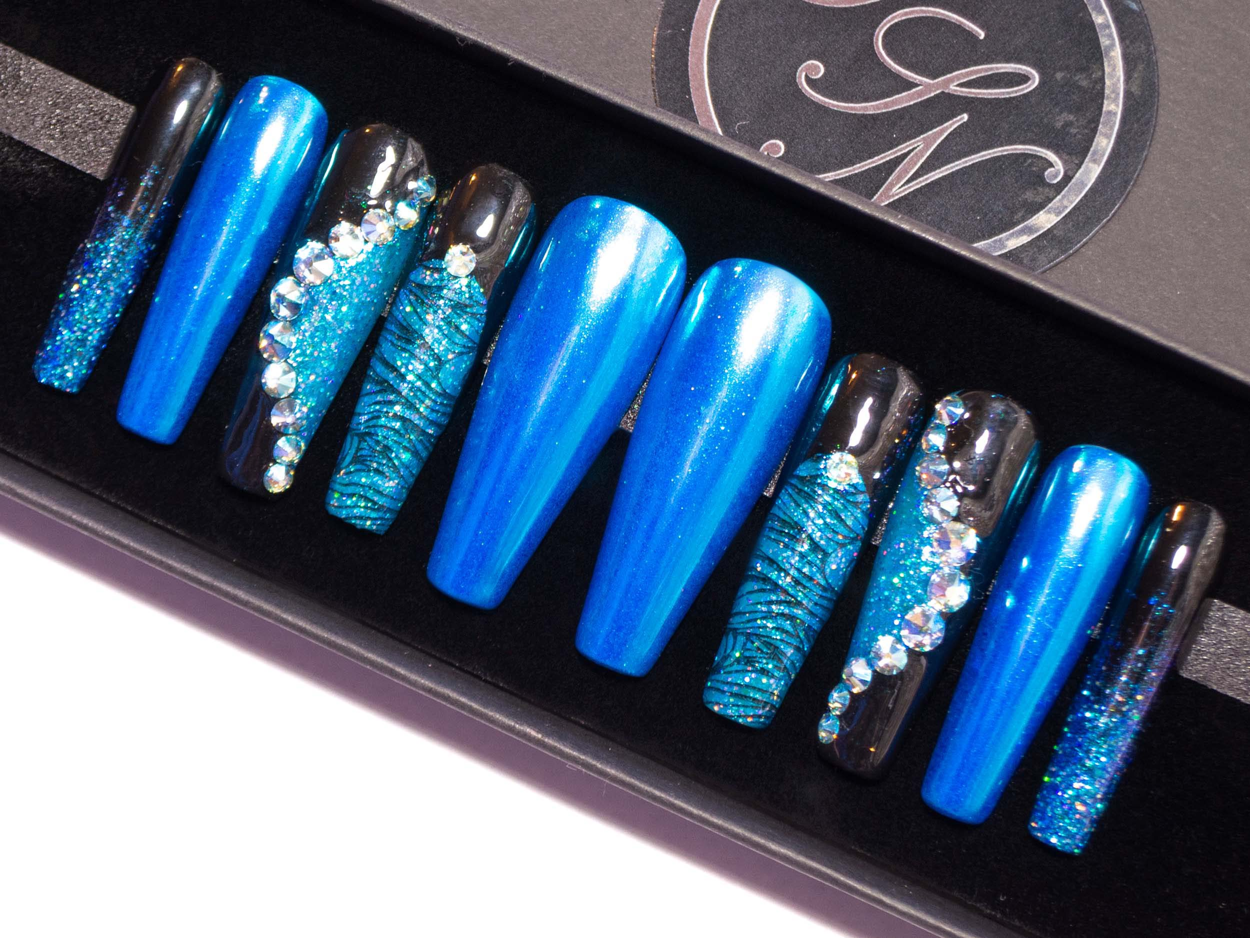 """Dark Ocean"" - Black Nails with Aqua Blue Chrome, Glitter & Swarovski Crystals"