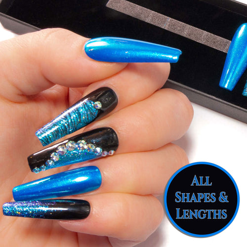"""Dark Ocean"" - Black Nails with Aqua Blue Chrome, Glitter & Aqua AB Crystals"