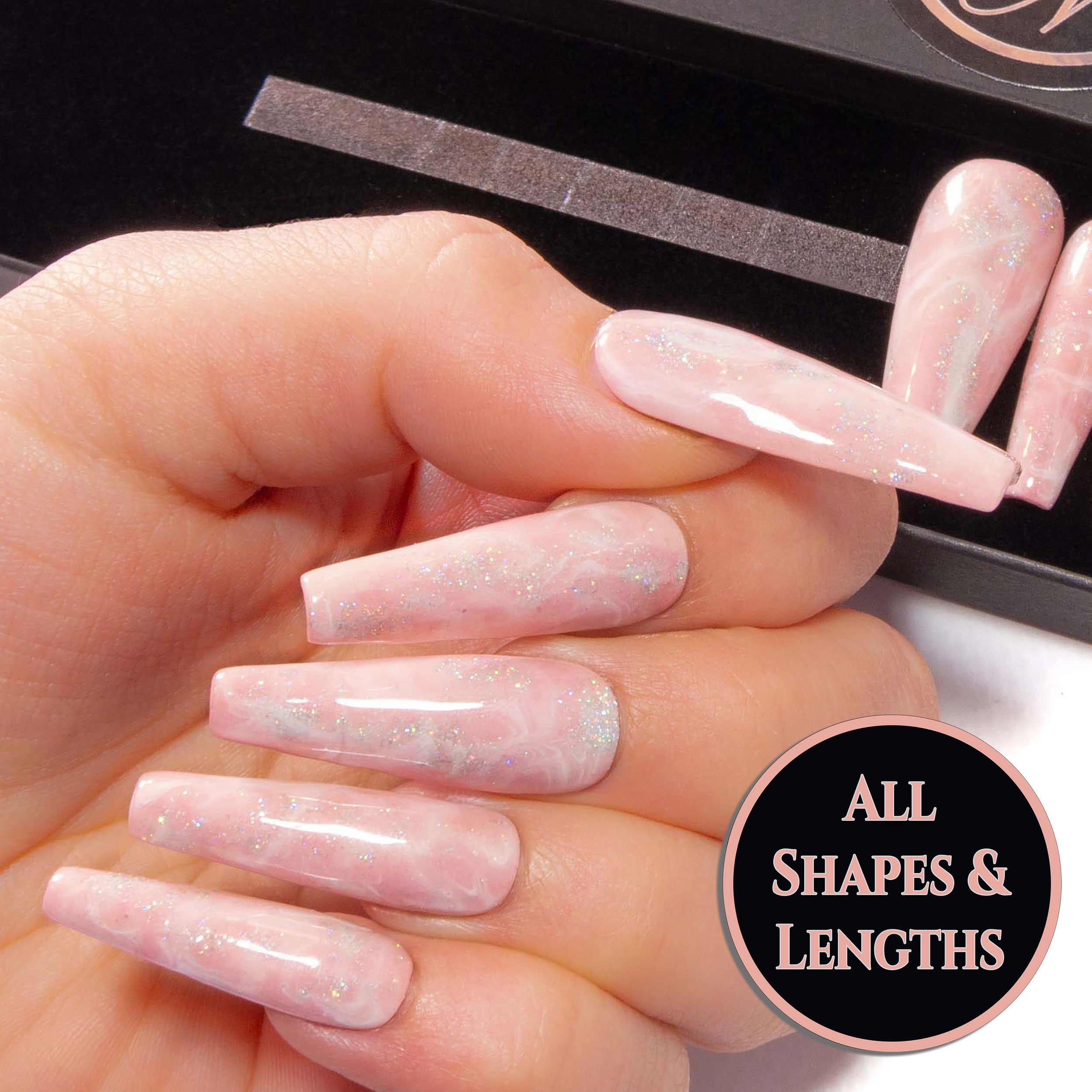 """Lady Like"" - Nude Pink, White & Glitter Marbled False Nails"