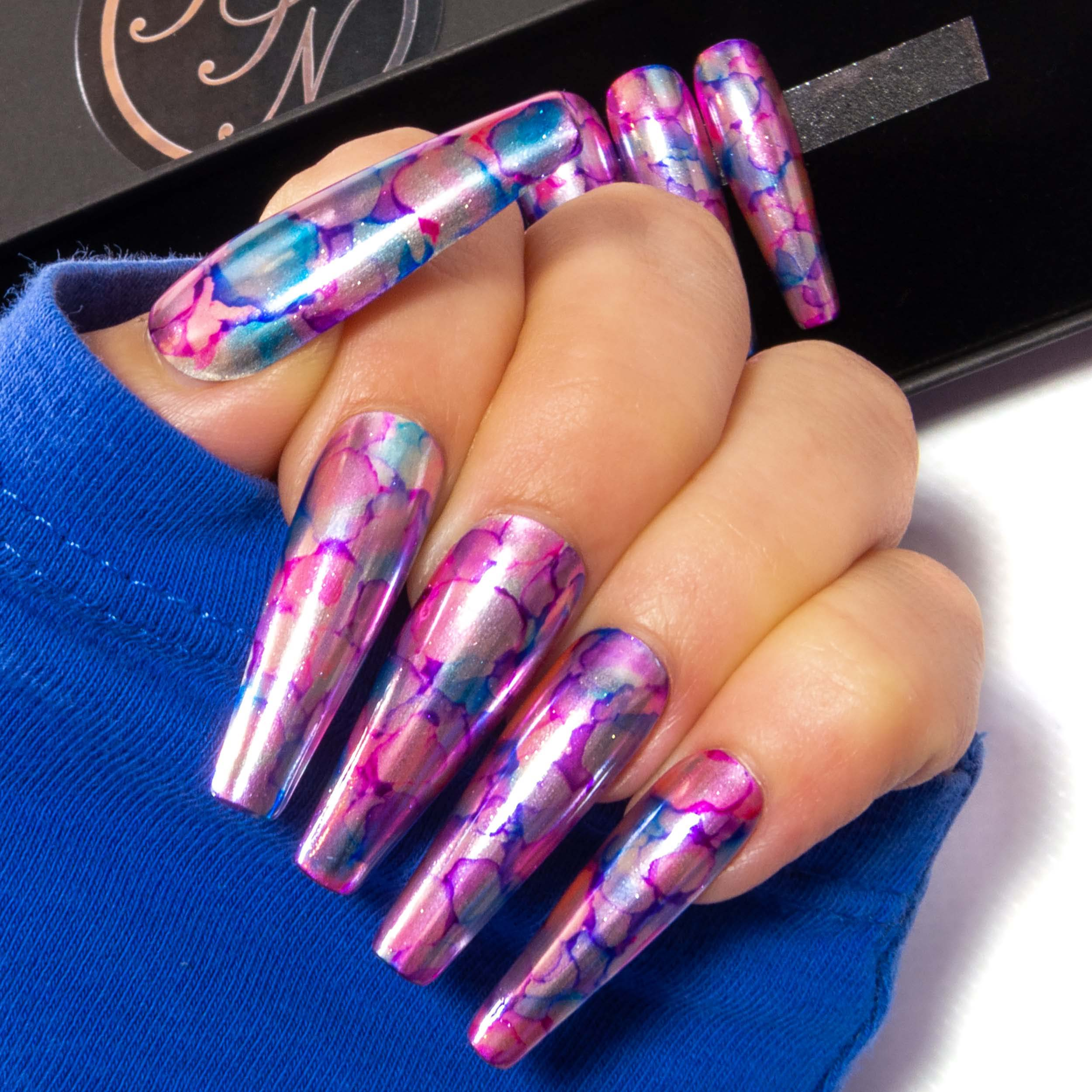 """Metal Petals"" - Silver, Pink, Purple & Blue Chrome Marble Nails"