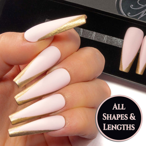 """Edges Snatched"" - Baby Pink Matte or Gloss with Gold French Tip Fake Nails"
