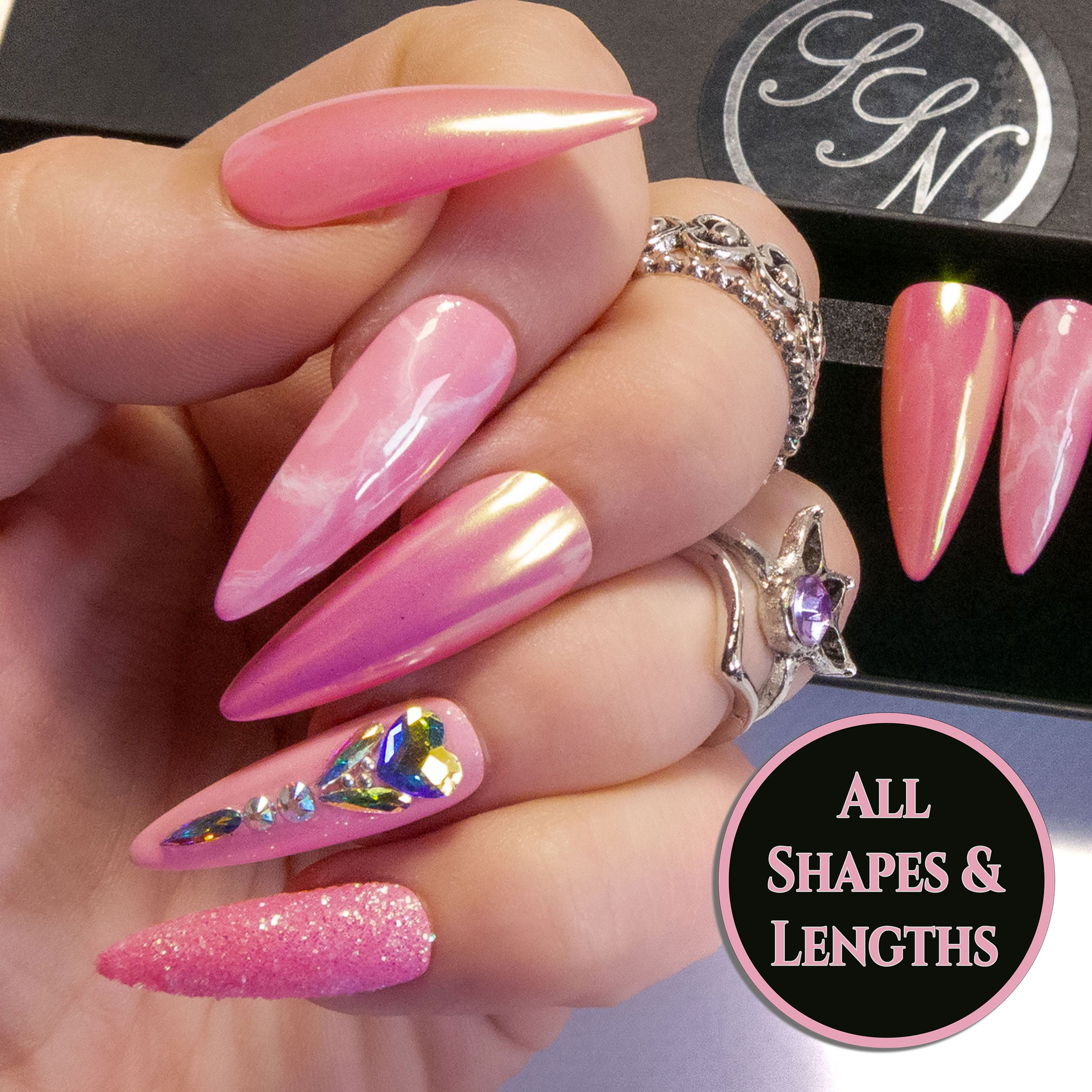 """Ice Princess"" - Light Pink & AB Bling Press On Nails"