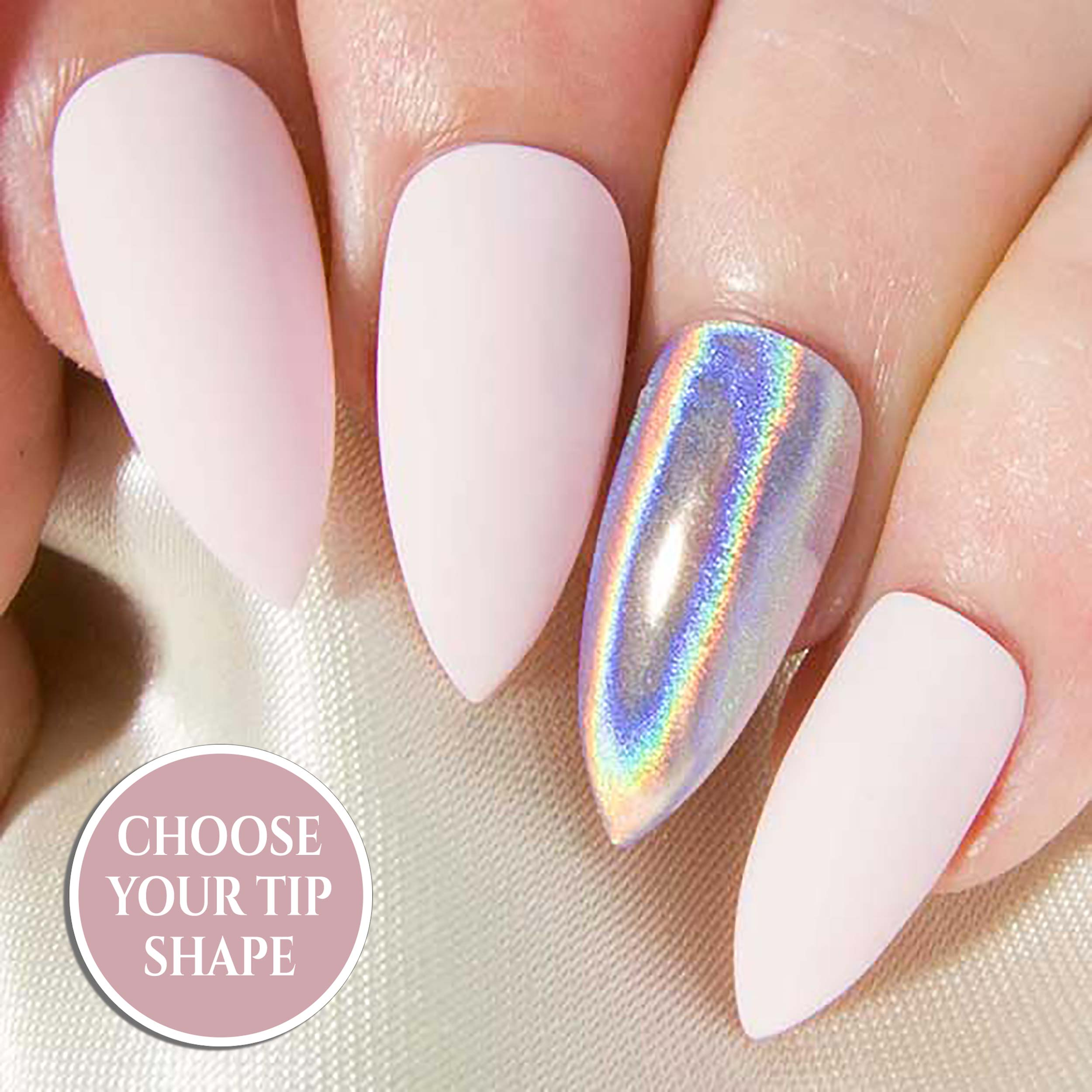 """Ethereal"" - Matte or Gloss Baby Pink & Holographic Chrome Press On Nails"