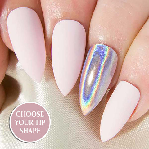 """Pink Chrome"" - Rose Pink Metallic Nails - All Tip Shapes"