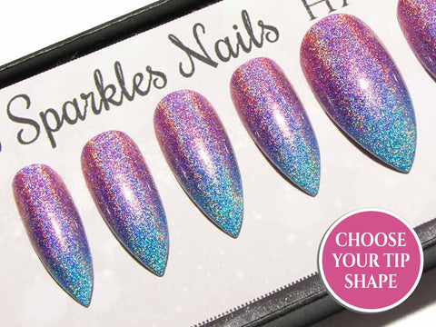 """Foil Me Once"" - Pink Purple & Blue Metallic 3D Crystal Nails"