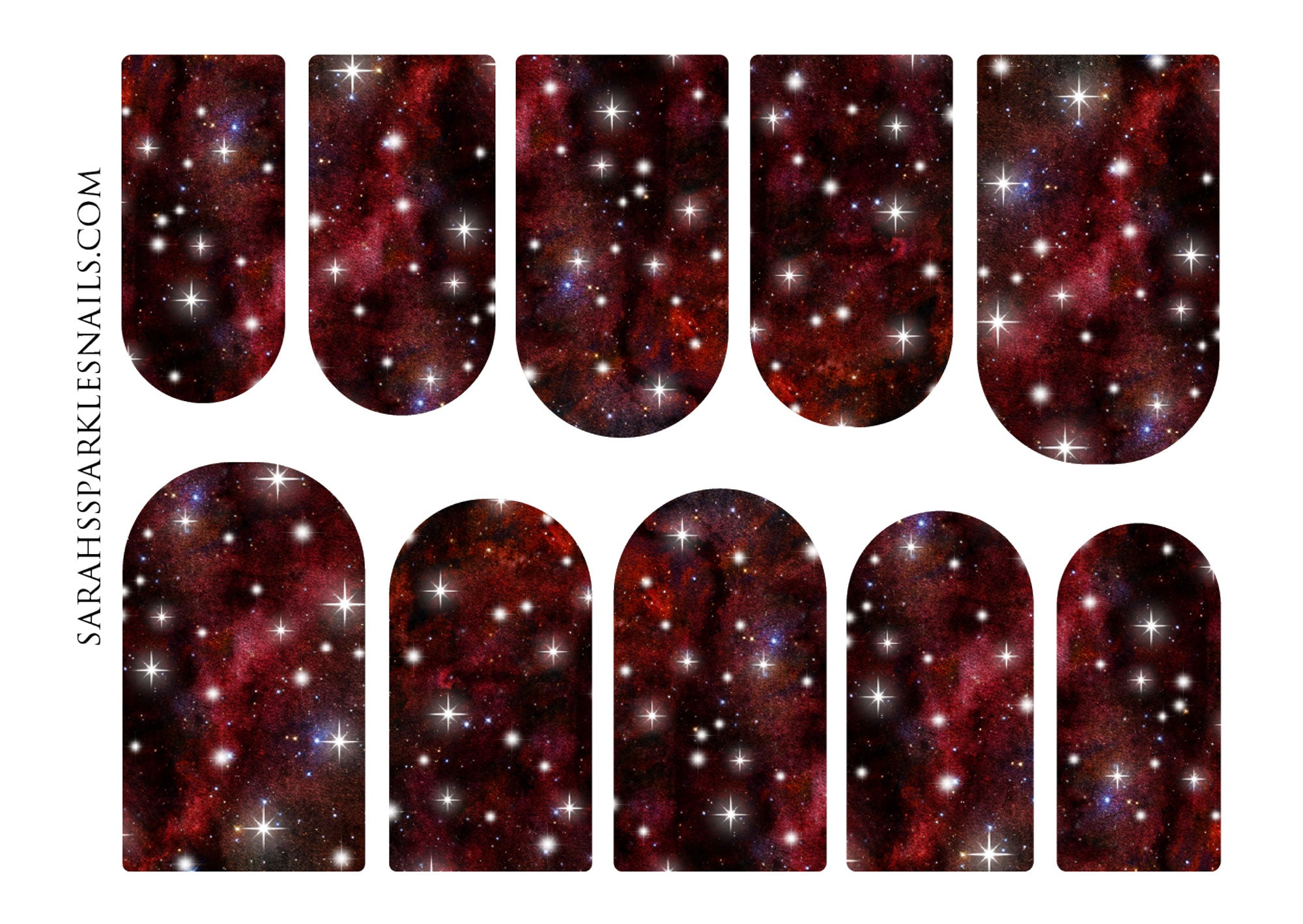 Scarlet Galaxy Nail Decals
