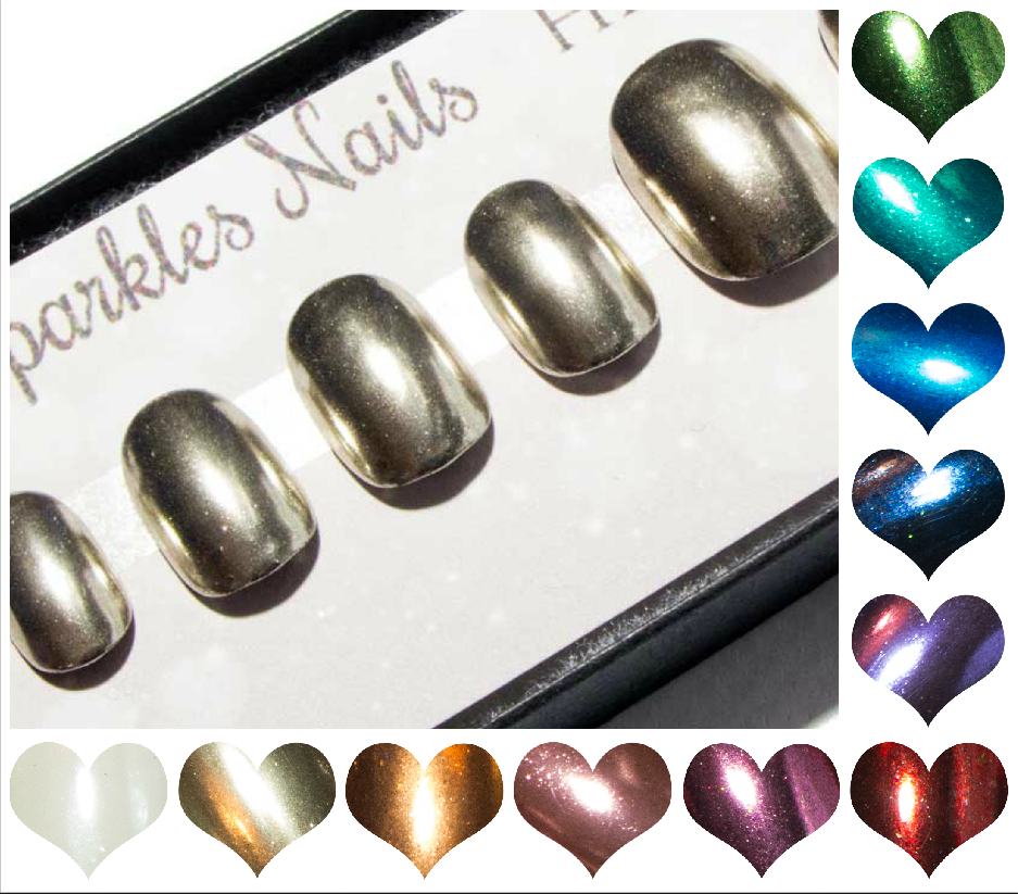 """The Static Chromes"" Short Nails - Squoval Metallic Press On Nails - Pink, Red, Silver, Rose Gold, Purple..."