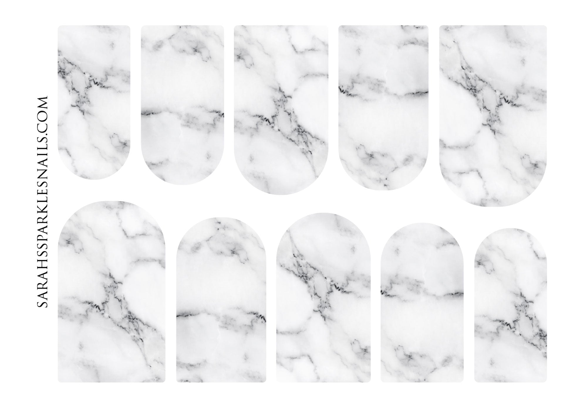 Marble Texture Clear-Based Nail Decals