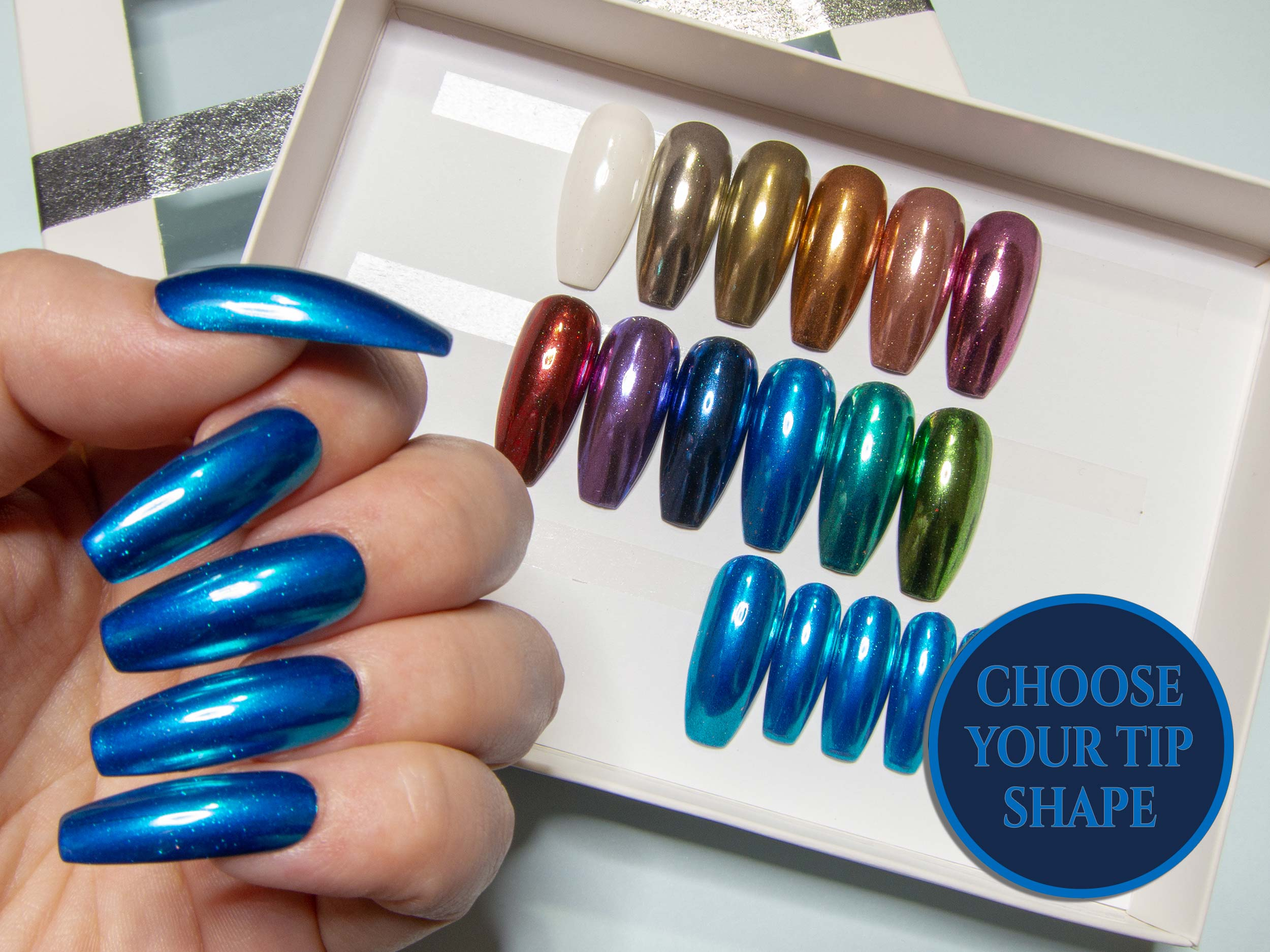 """The Static Chromes"" - Metallic Colour Chrome Press On Nails"