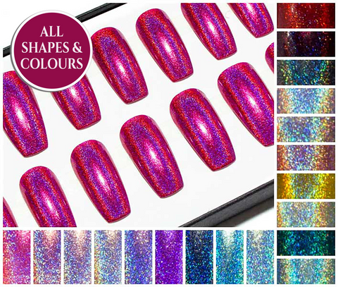 """The Holographics"" - Press On Stiletto Nails"