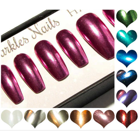 """The Static Chromes"" Fake Nails - Medium Coffin - Pink, Red, Silver, Rose Gold, Purple and more..."