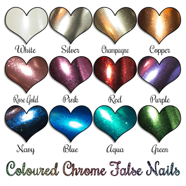 Chrome Nails In 12 Colours - Medium Coffin Sarah's Sparkles False