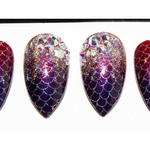 Crystal Mermaid Ombre  - All Shapes False Nails