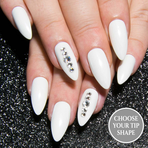 """White Pearl Crystal"" - Clear Swarovski & White Chrome Press On Nails"