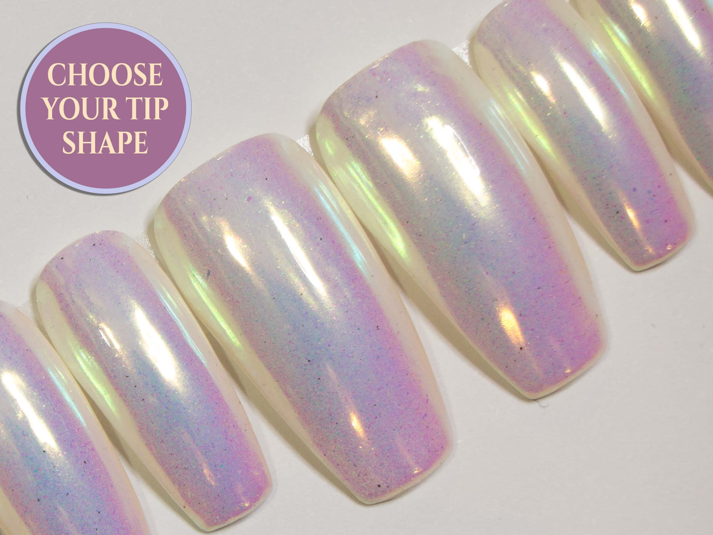 """Pink Unicorn Chrome"" - Rainbow Unicorn Metallic Nails - All Tip Shapes"
