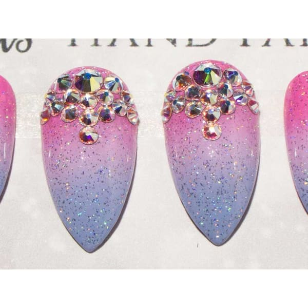 Glitter Glue On Nails With Crystal Ombre Design - All Shapes Sarah's Sparkles False