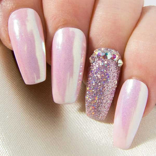 Iridescent Pink Chrome, Holographic Glitter & AB Crystals False Nails