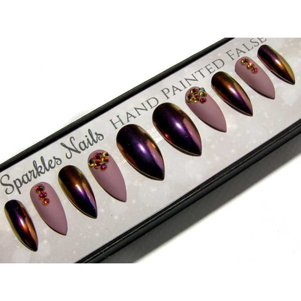 Matte Mauve Chrome Ombre & Volcano Crystals - All Shapes Sarah's Sparkles Nails False