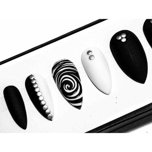Matte Black & White Studs and Swirls - All Shapes False Nails