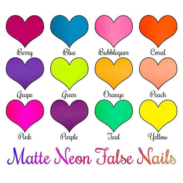 Matte Neons - Long Coffin False Nails