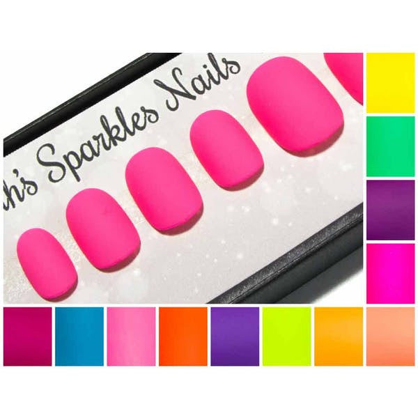 Matte Neons - Short Squoval False Nails