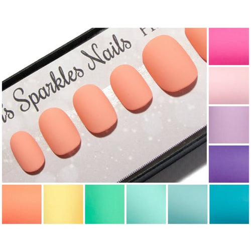 Matte Pastel Fake Nails - Short Squoval (Petite) False Nails