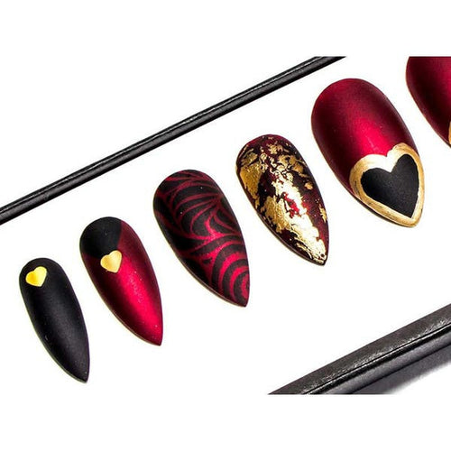 Matte Red, Black & Gold Hearts - All Shapes False Nails