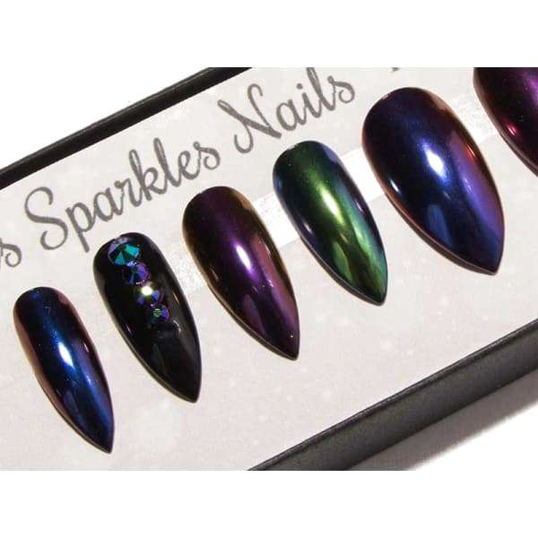 Mixed Chrome Scarab Crystals & Black - All Shapes False Nails