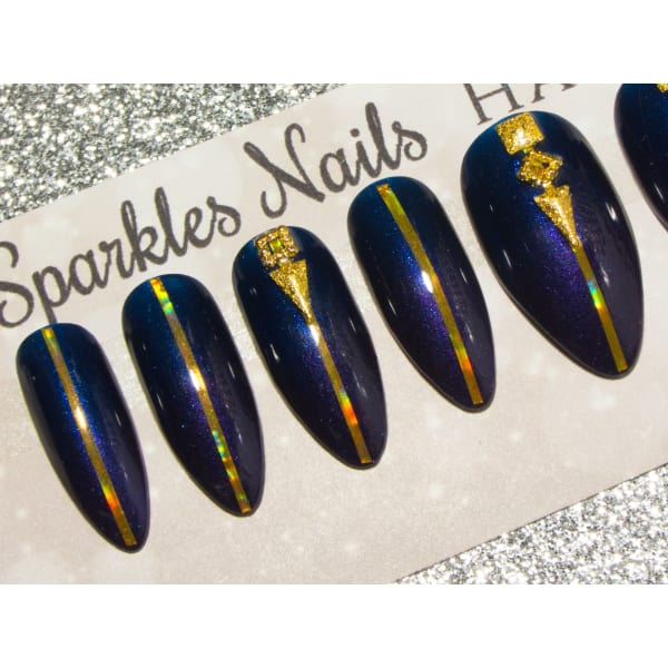 Navy & Purple Ombre With Gold Deco - All Shapes Sarah's Sparkles Nails False