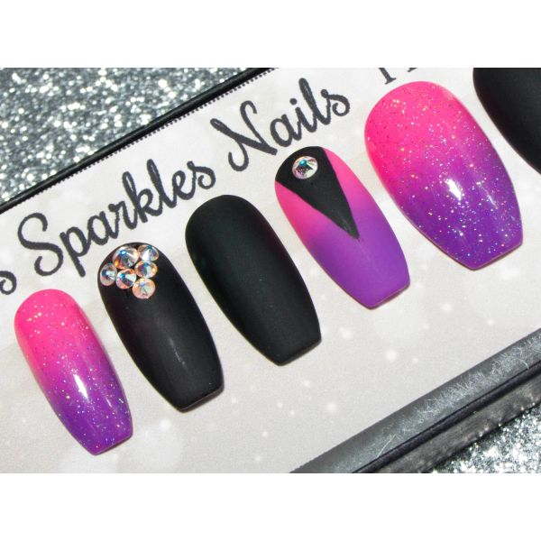 Neon Pink & Purple Matte Black Ab Crystals - All Shapes False Nails