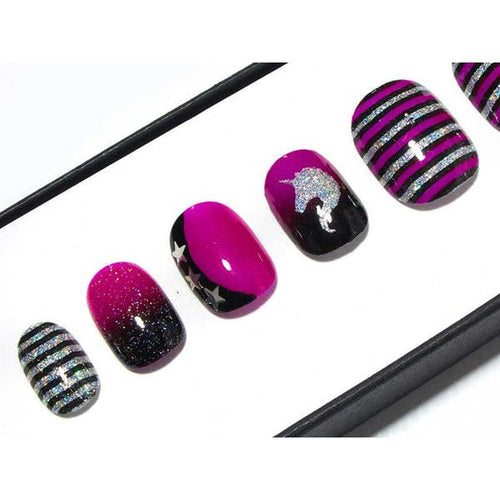 Neon Purple, Black & Silver Holo Glitter Unicorns - All Shapes False Nails